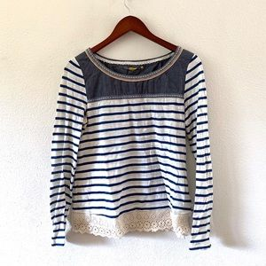 Anthropologie Little Yellow Button Striped Tee